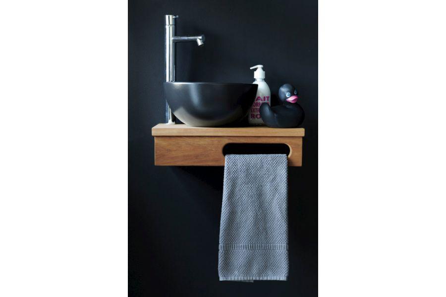 meuble teck massif et vasque noire la galerie du teck