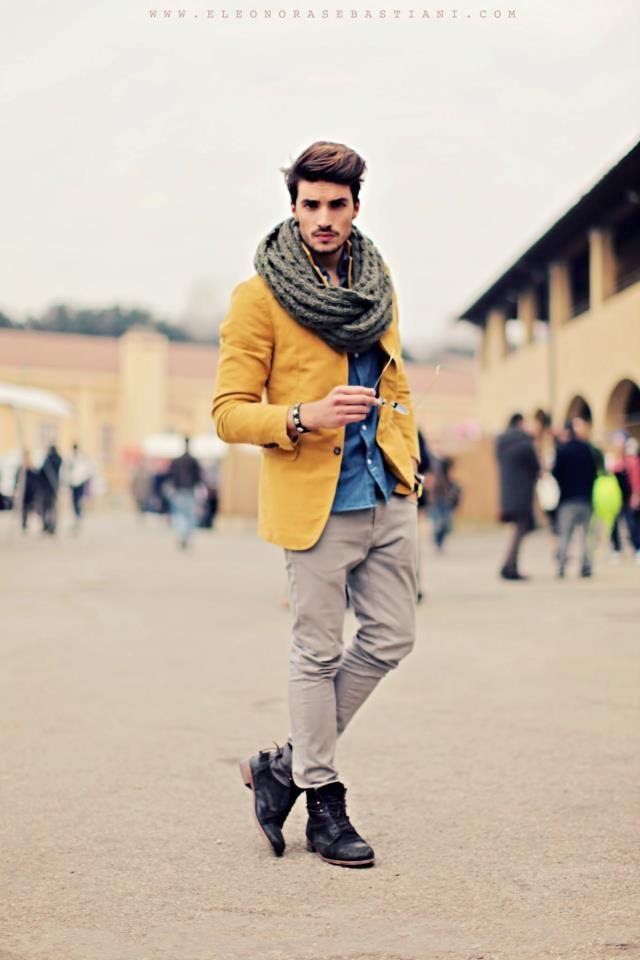 blazer moutarde avec snoo gris pour homme